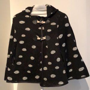Girl's black and grey polka dot, hooded cape